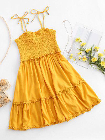 Smocked Tie Shoulder Lettuce Trim Mini Dress - Yellow S