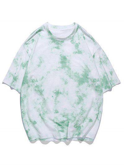 Tie-dye Print Short Sleeve Tee - Jade Green 2xl