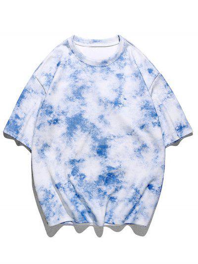 Tie-dye Print Short Sleeve Tee - Dodger Blue 2xl