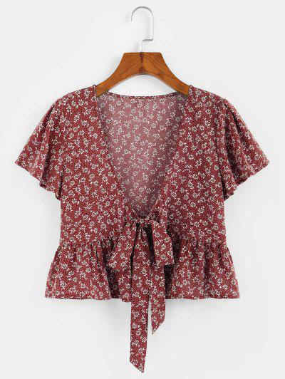 ZAFUL Flower Butterfly Sleeve Plunging Peplum Blouse - Red Wine L