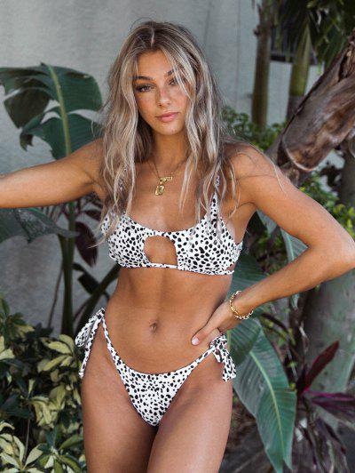 Jessica Stockstill X ZAFUL Dalmatian Snake Print Tie Cutout Bikini Swimsuit - White M