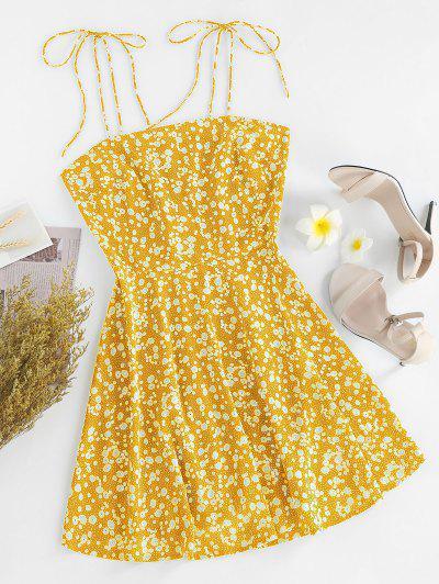 ZAFUL Ditsy Print Tie Shoulder Sleeveless Dress - Sun Yellow S