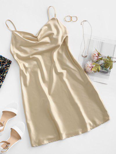 Cami Cowl Front Satin Mini Dress - Tan L