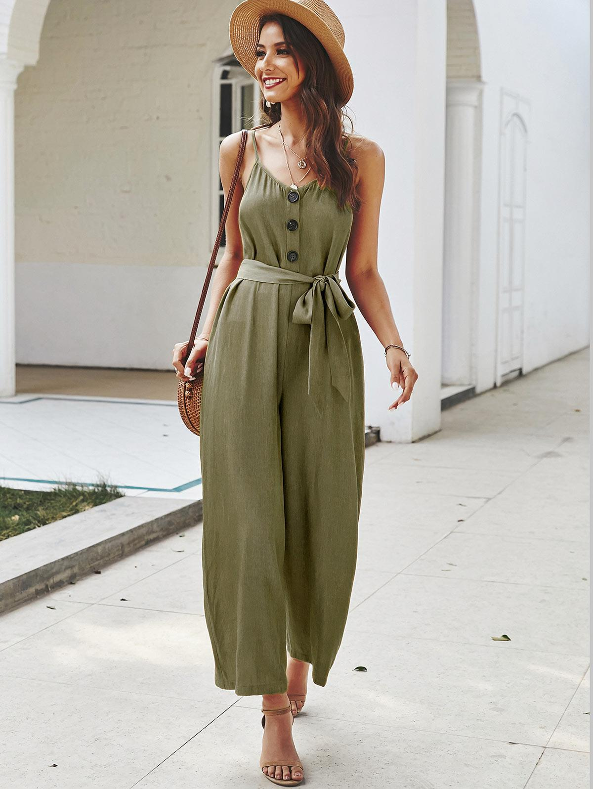 Buttoned Belted Cami Jumpsuit