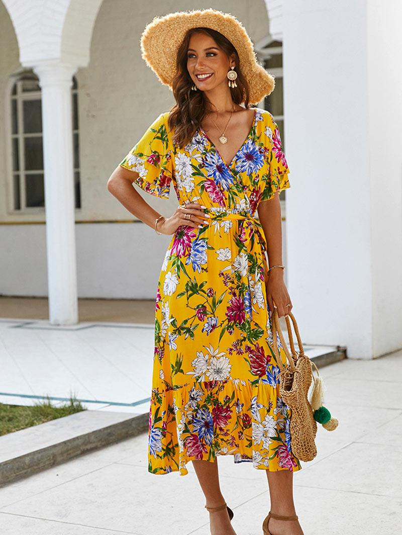 Floral Printed Belted Surplice Dress
