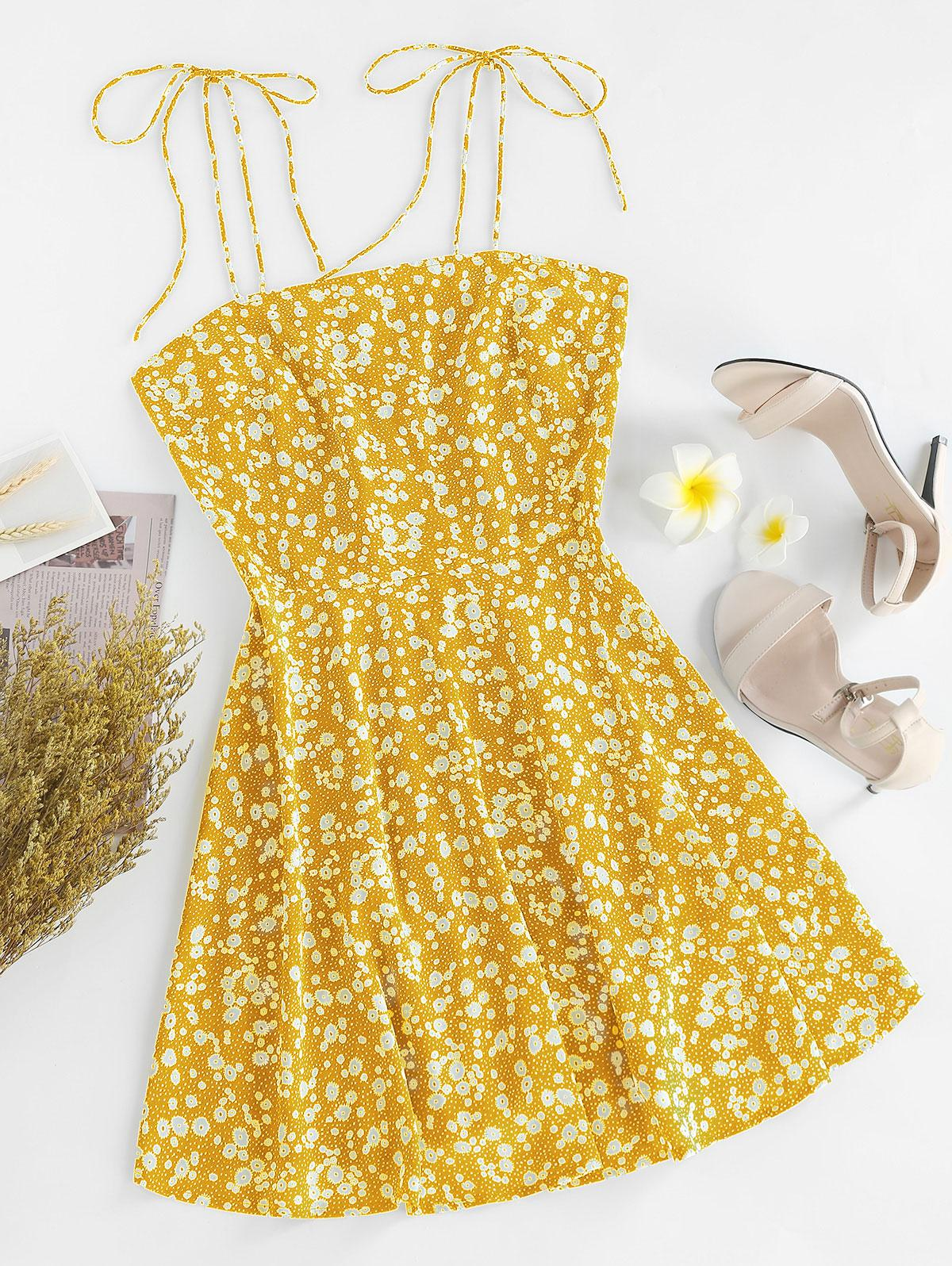 ZAFUL Ditsy Print Tie Shoulder Sleeveless Dress