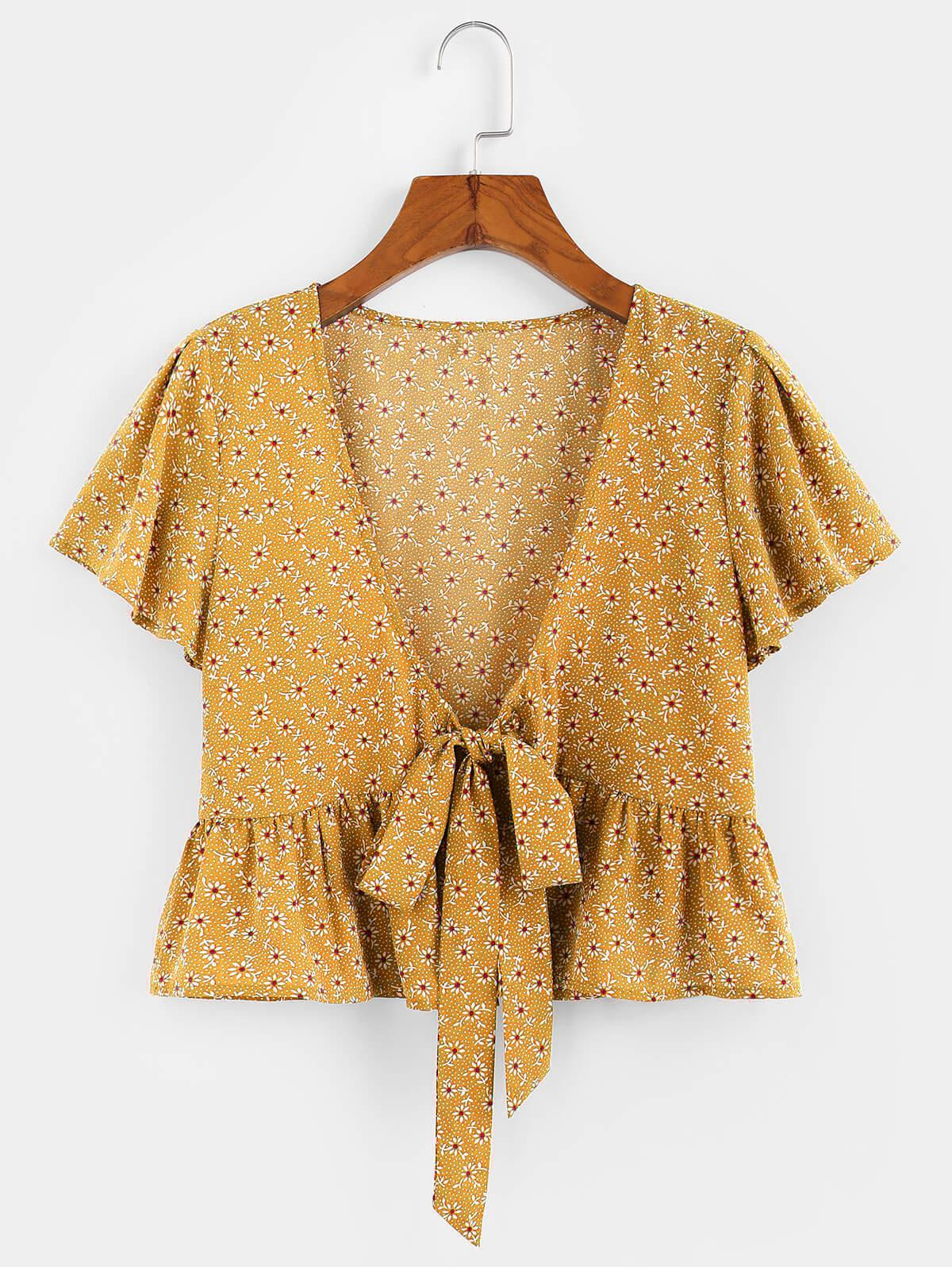 ZAFUL Flower Butterfly Sleeve Plunging Peplum Blouse