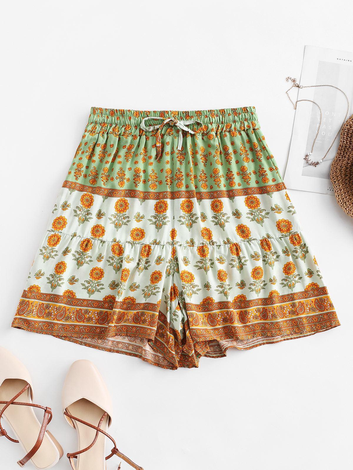 Drawstring High Waisted Floral Shorts