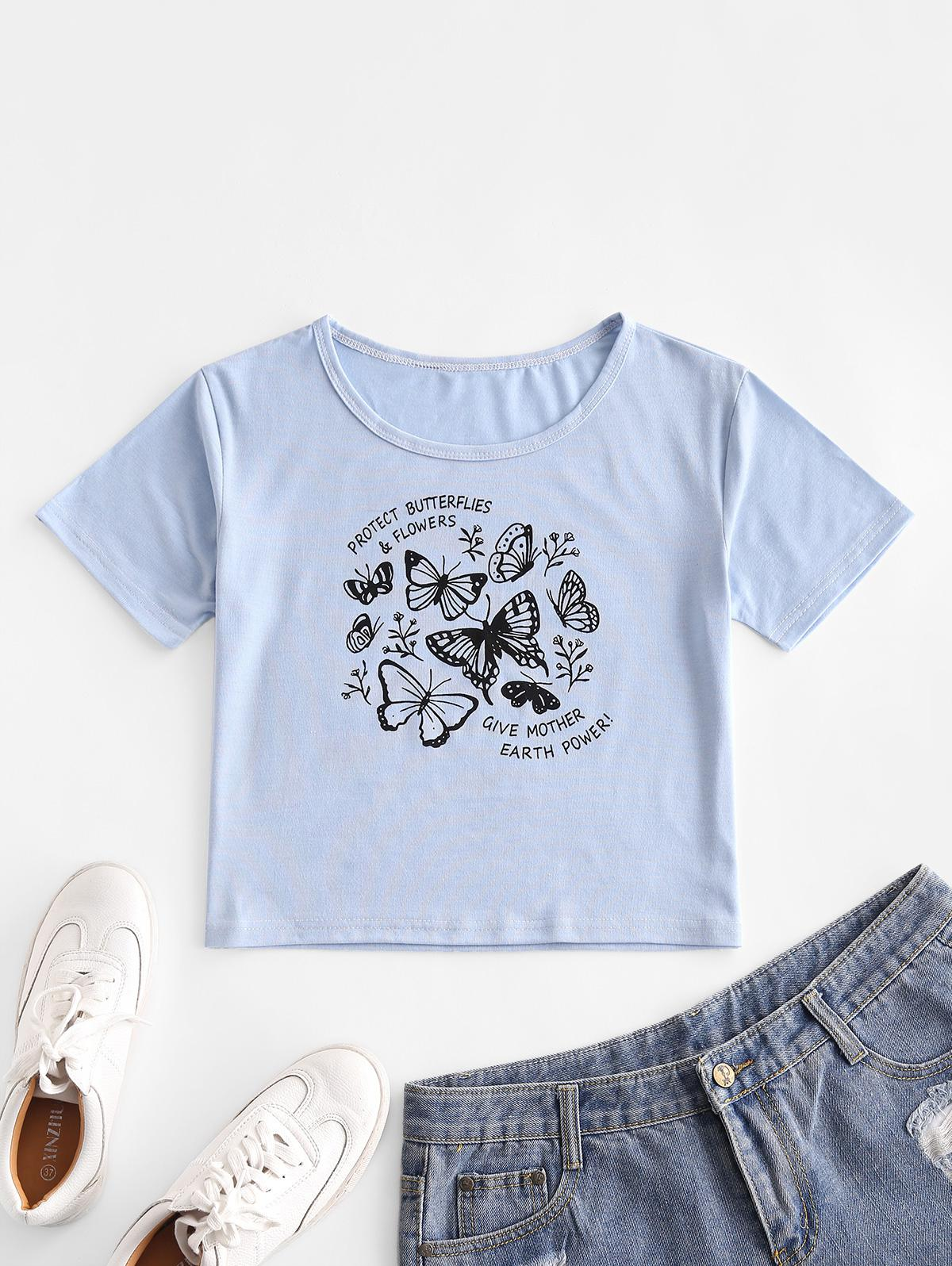 Basic Letter Butterfly Graphic Tee