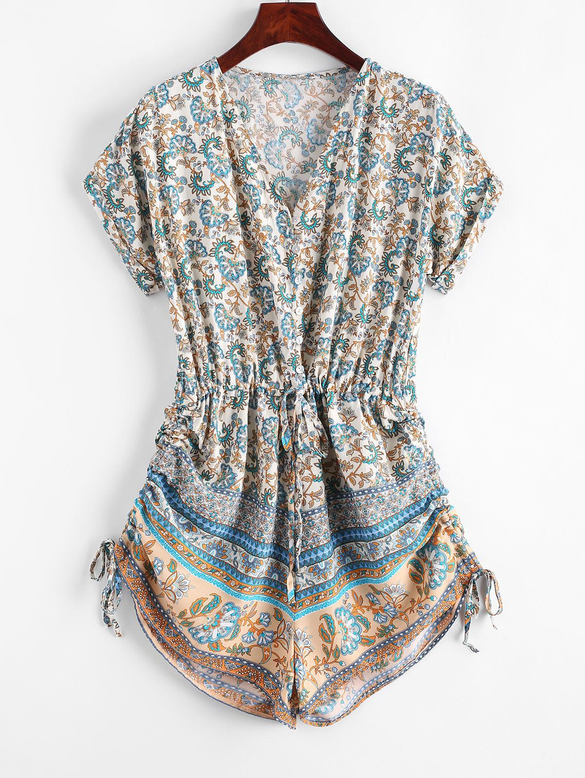 Button Loop Cinched Bohemian Printed Romper