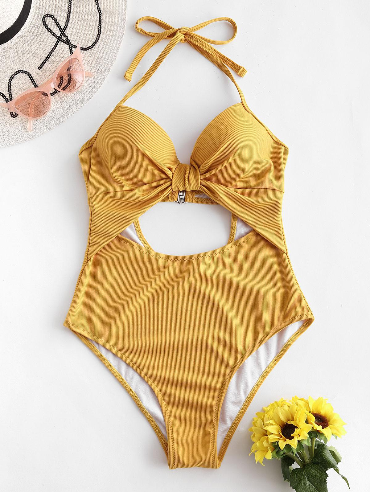 ZAFUL Ribbed Halter Underwire Cut Out One-piece Swimsuit thumbnail