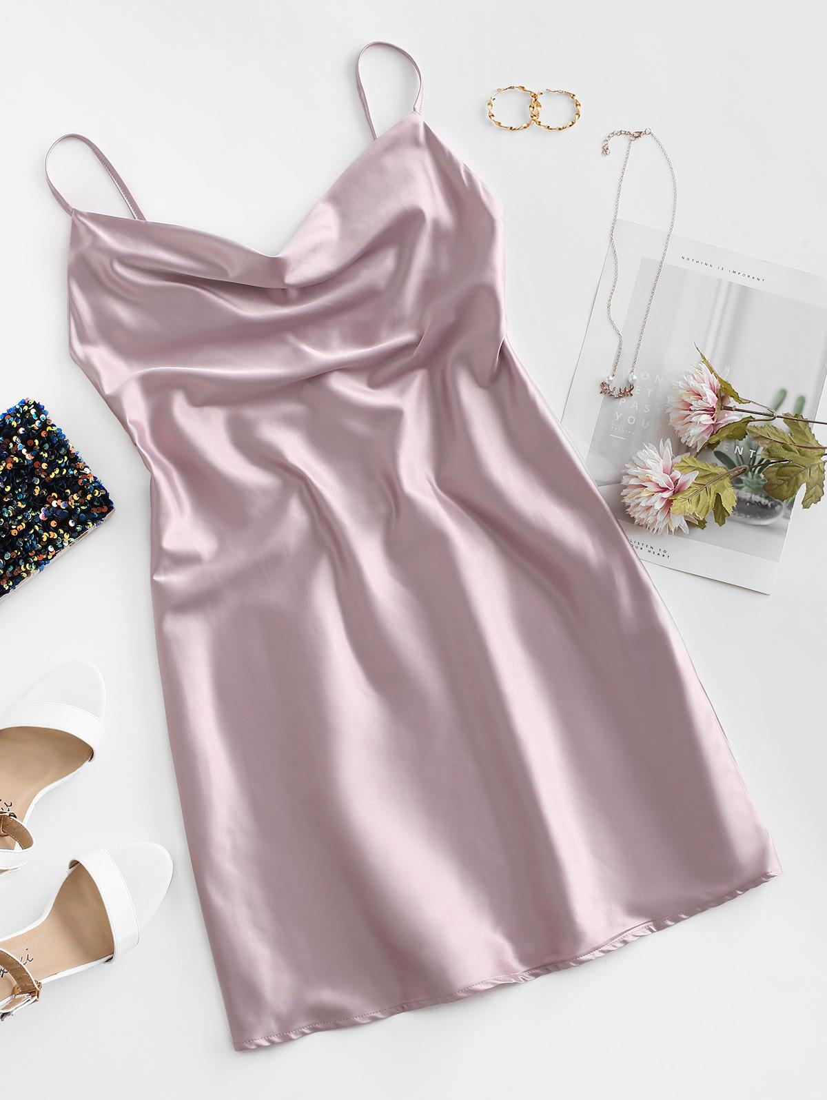 Cami Cowl Front Satin Mini Dress