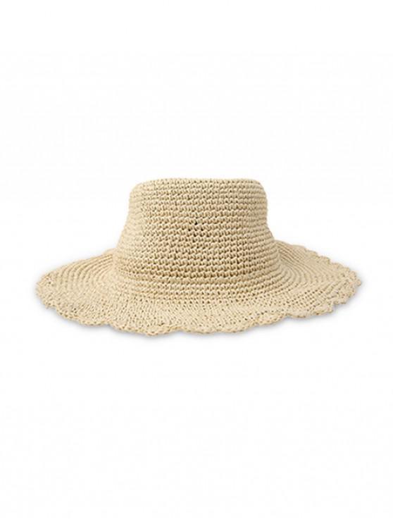 online Solid Rippled Edge Straw Hat - BEIGE