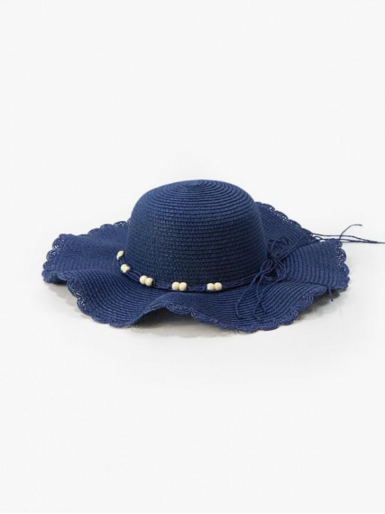 outfit Beads Cord Wavy Edge Straw Hat - CADETBLUE