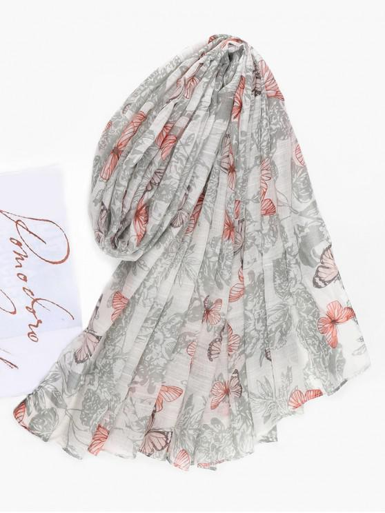 shops Summer Butterfly Printed Long Scarf - CRYSTAL CREAM