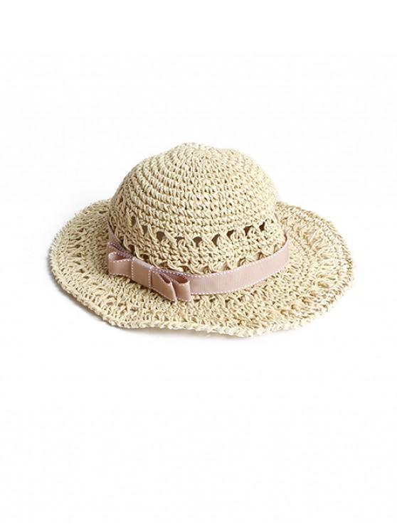 ladies Bowknot Decor Woven Straw Beach Hat - BEIGE