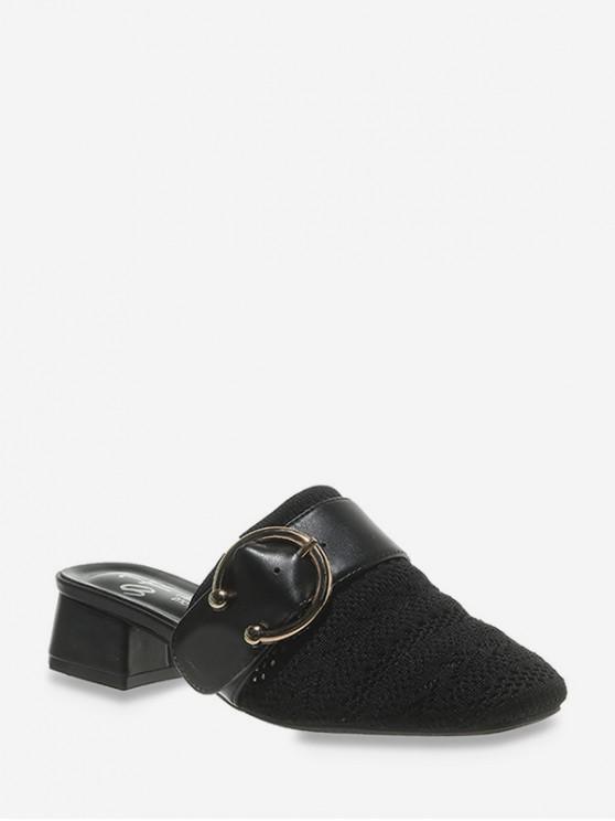 chic Square Toe Buckled Chunky Heel Shoes - BLACK EU 38