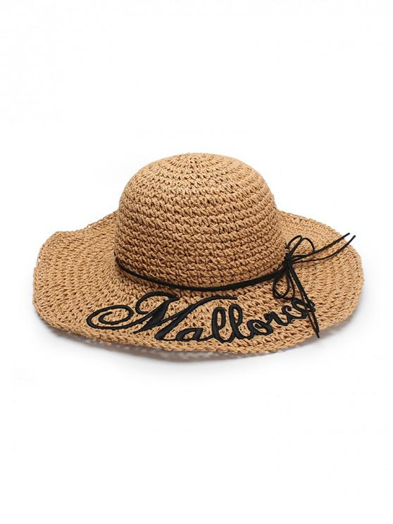 womens Letters Pattern Bowknot Straw Hat - CAMEL BROWN