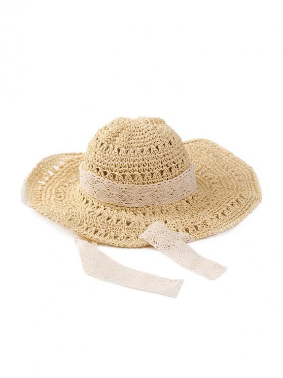 best Lace Ribbon Crochet Straw Hat - BEIGE