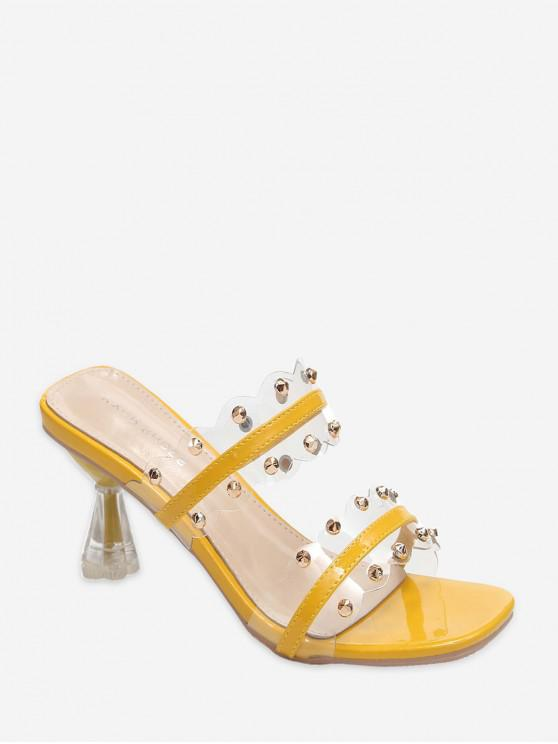 fancy Clear Dual Strap Mid Heel Slides With Studs - YELLOW EU 39