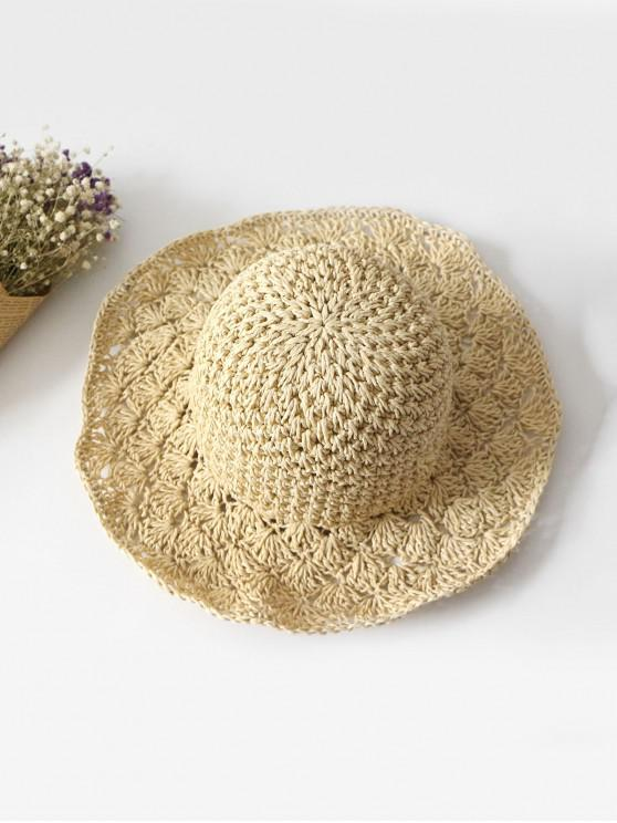 affordable Summer Crochet Straw Hat - BEIGE