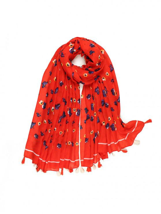 buy Small Floral Printed Tassel Scarf - RED
