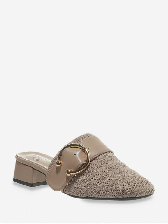 womens Square Toe Buckled Chunky Heel Shoes - BEIGE EU 38