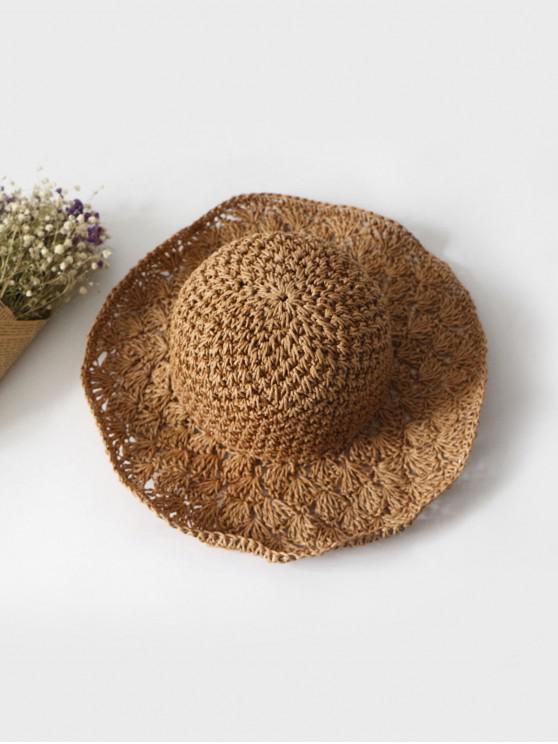 ladies Summer Crochet Straw Hat - KHAKI