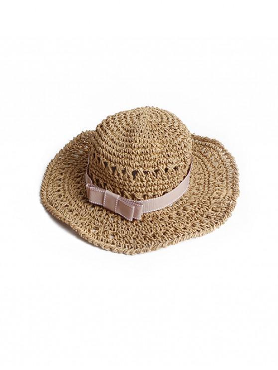 trendy Bowknot Decor Woven Straw Beach Hat - KHAKI