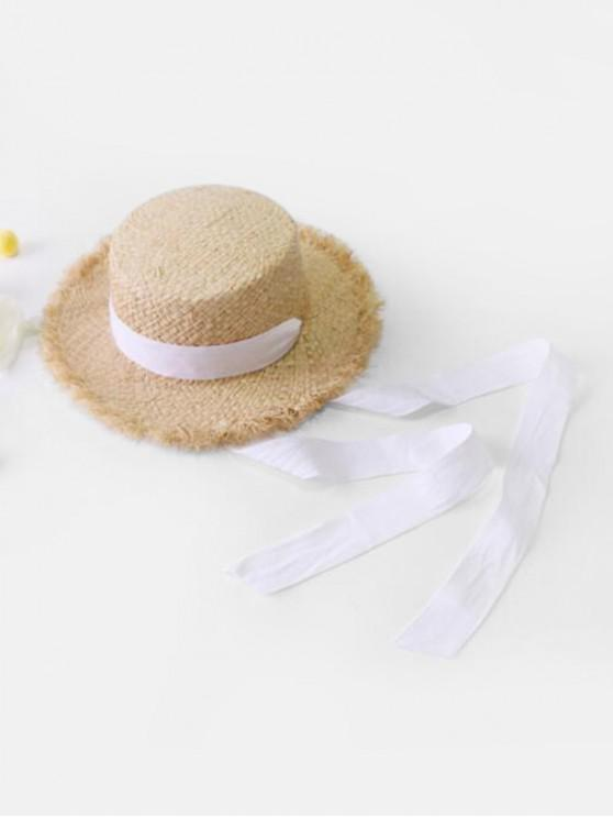 fashion Ribbon Bowknot Raw Edge Straw Hat - WHITE