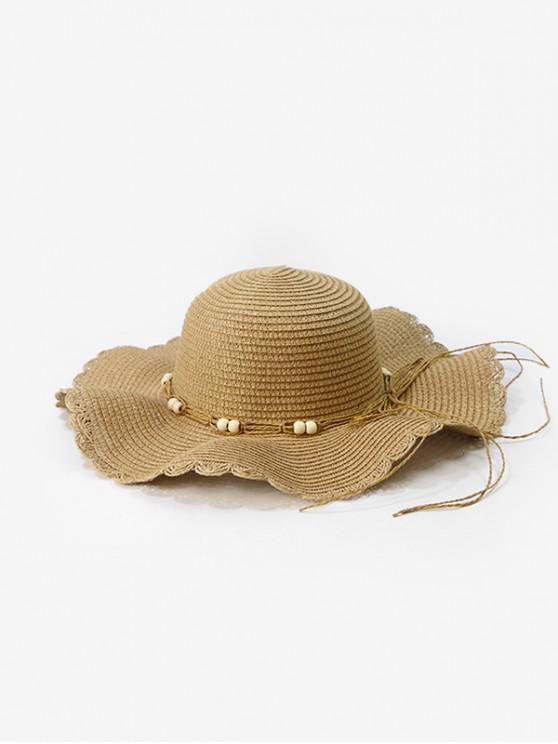 best Beads Cord Wavy Edge Straw Hat - KHAKI