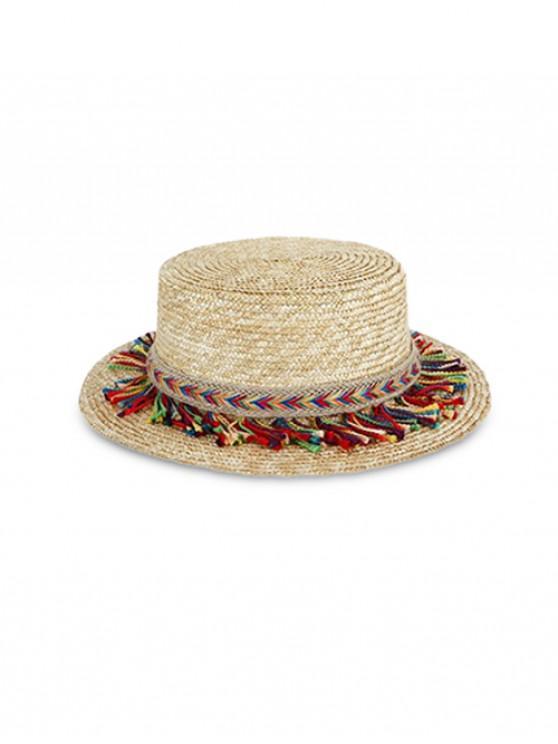 outfits Bohemian Fringe Decor Straw Flat Top Hat - BEIGE