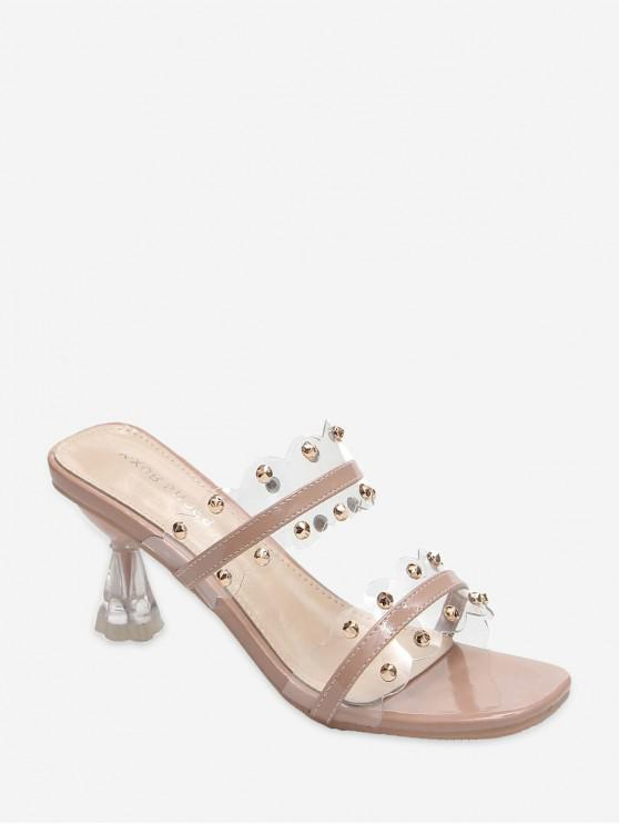lady Clear Dual Strap Mid Heel Slides With Studs - LIGHT PINK EU 39