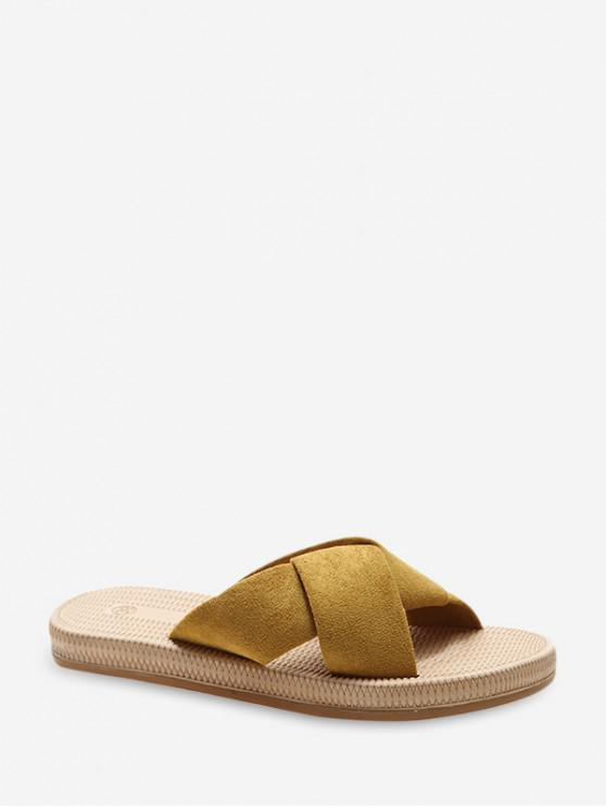 fancy Suede Cross Strap Flat Slides - YELLOW EU 39