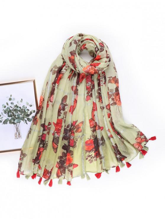 buy Butterfly Floral Printed Tassel Scarf - RED
