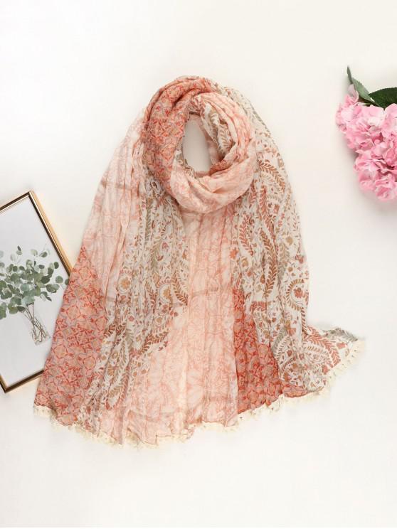 outfit Ethnic Floral Printed Tassel Scarf - ORANGE PINK