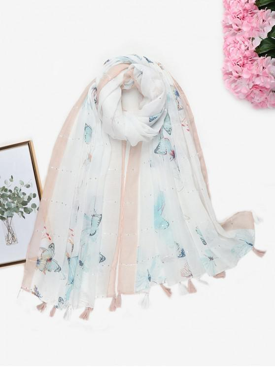chic Butterfly Printed Sequin Tassel Scarf - MILK WHITE