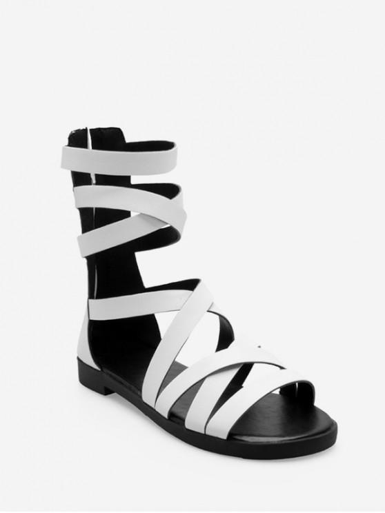 women PU Leather Crisscross Strap Flat Gladiator Sandals - WHITE EU 39