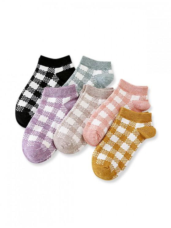 fashion 6Pairs Plaid Pattern Invisible Socks Set - MULTI-A