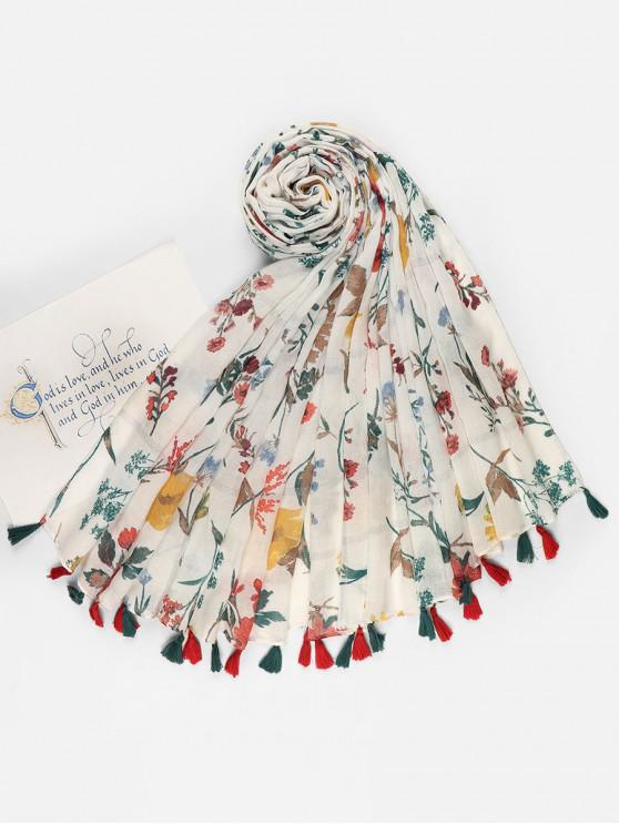buy Floral Printed Tassel Voile Scarf - MILK WHITE