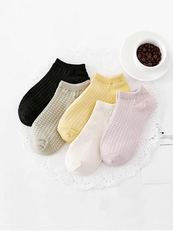 women 5Pairs Checkered Invisible Socks Set - MULTI-A