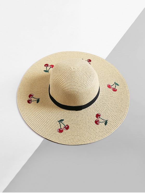 sale Cherry Embroidered Straw Floppy Sun Hat - BEIGE