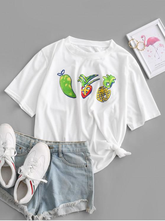 new Fruit Print Round Neck Tee - WHITE M