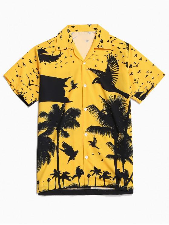 shop Coconut Palm Print Hawaii Vacation Shirt - BRIGHT YELLOW M