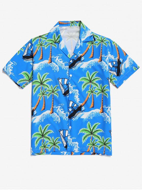 shop Palm Tree Print Vacation Hawaii Shirt - BLUEBERRY BLUE 2XL