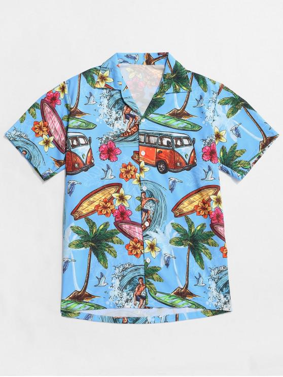 shops Palm Tree Flower Hawaii Vacation Shirt - DEEP SKY BLUE S