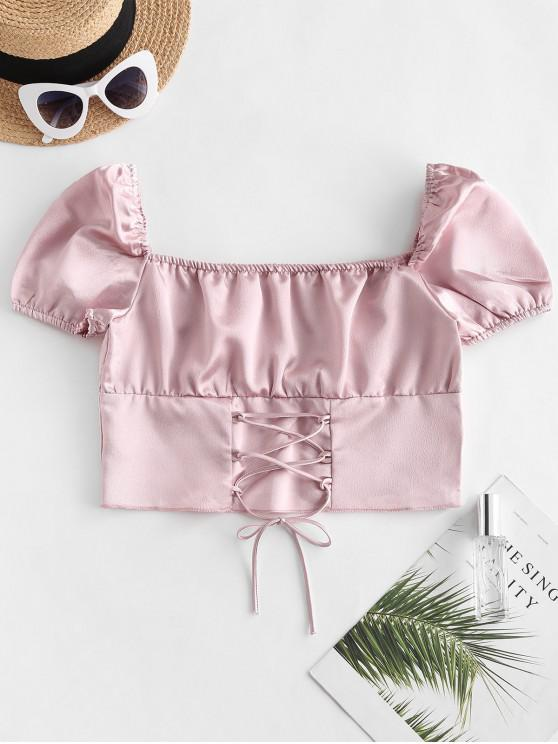 outfits Silky Lace Up Milkmaid Blouse - ROSE S