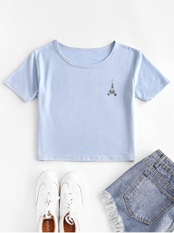 outfits Basic Tower Graphic Tee - LIGHT SKY BLUE L