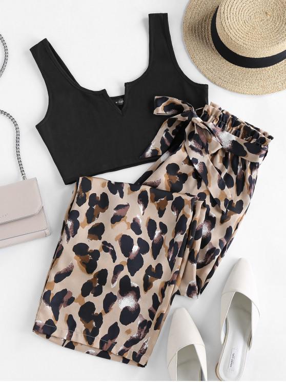 womens ZAFUL V Cut Leopard Wide Leg Paperbag Pants Set - BLACK S