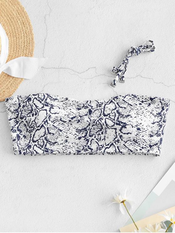 new ZAFUL Leopard Snake Print Bandeau Bikini Top - MULTI-A L